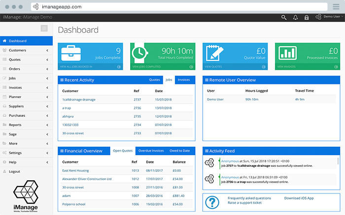 The iManage Onsite Pro service business dashboard