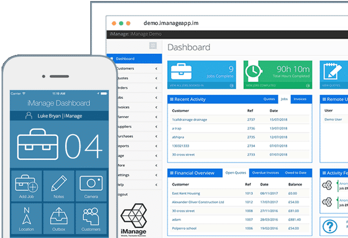 Onsite Pro phone and web dashboard iManage